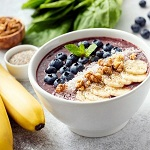Acai smoothie bowl, superfood vegan breakfast